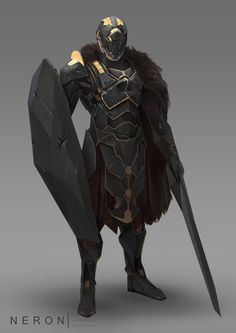 Space Knight : Wonderful scifi character design by Canada based concept artist and illustrator Dimitri Neron. Fantasy Armor, Sci Fi Fantasy, Space Fantasy, Oni Maske, Character Concept, Character Art, Space Knight, Foto Fantasy, Arte Robot
