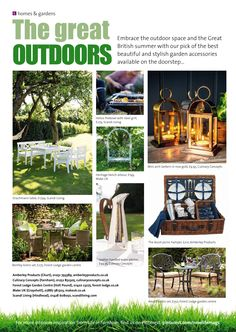 ~ Great outdoors ~ Smart and stylish garden accessories perfect for the summer. Farnham Surrey, British Summer, Fire Bowls, Made In Uk, Garden Accessories, The Great Outdoors, Interior Inspiration, Lanterns, Arch