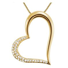Majesty Diamonds - 1/6 CTW Pave Diamond Heart Pendant Necklace in 14K Yellow Gold With Chain #diamond #heartpendant