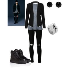 BTS Jungkook Dark&Wild Inspired outfit by tonisha1994 on Polyvore featuring T By Alexander Wang, Topshop, J Brand, Giuseppe Zanotti, Vince Camuto, Givenchy, outfit, Inspired, kpop and bts