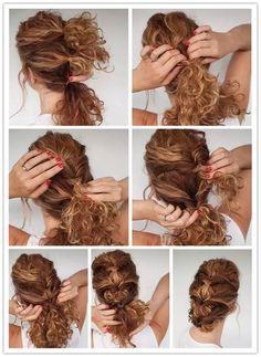 Hair Style: Curly Hair Braided Tutorial on We Heart It , . - Hair Style: Curly Hair Braided Tutorial on We Heart It , - Curly Hair Styles, Curly Hair Braids, Curly Hair Tips, Long Curly Hair, Easy Curly Updo, Short Curly Hair Updo, Braided Hairstyles Tutorials, Easy Hairstyles, Curly Hairstyles Tutorial
