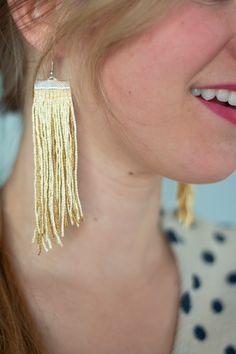 DIY Fringe Earrings (full tutorial: http://www.dotcomsformoms.com/fringe-earrings-0 )