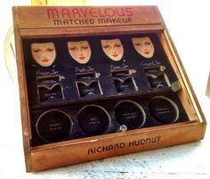 """Vintage Richard Hudnut Marvelous Matched Makeup """"Keyed to the Color of Your Eyes"""" sample display case. Dates back to the 1930's. Products advertised by Hollywood stars Gloria Stuart, Miriam Hopkins and others."""