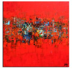 red abstract mini painting - Buscar con Google