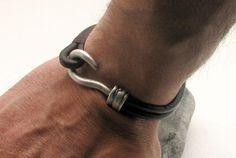 FREE SHIPPING Men's leather bracelet Brown leather by eliziatelye, $25.00