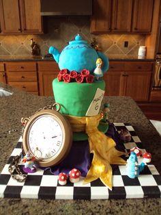 Alice in Wonderland Mad Hatter Tea Party Cake