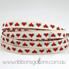 flower of hearts ribbon (7mm wide) [per metre] - $2.80 : Ribbons Galore, your online store for the best ribbons
