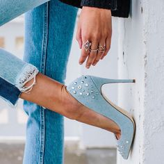 Embellished embrace.  Studded pump Kristensen delivers serious weekend vibes. Shop them in our link in bio. #footwearfriday