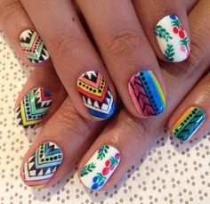 Obsessed with these colorful tribal print mixed print nails!!! IN LOVE. #nailart