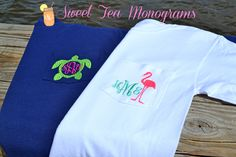 Turtle and flamingo monogram tees! OMG WANT