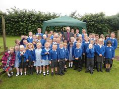Flookburgh CofE Primary - celebrating the opening of their outdoor reflective space with Bishop Robert.