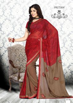 Red & Brown #Onlyokay Printed #Sarees  Red & Brown ,printed fashion saree, has contrast print detail along the borders Comes with a blouse piece.Length: 5.5 metres plus 0.80 metre blouse piece Available in 51% Discount @aimdeals
