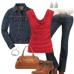 buy online df993 43e51 Red Top, Flare Jeans, Ankle Booties. CuteSportsFan.com · Atlanta Hawks  Fashion ...