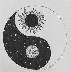 41 Ideas tattoo moon mandala yin yang for 2019 Yin Yang Tattoos, Tatuajes Yin Yang, Sun And Moon Drawings, Dark Art Drawings, Art Drawings Sketches, Sun Drawing, Drawing Art, Yen Yang, Light Tattoo