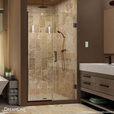 "DreamLine SHDR-245357210 Unidoor Plus 72"" High x 54"" Wide Hinged Frameless Showe"