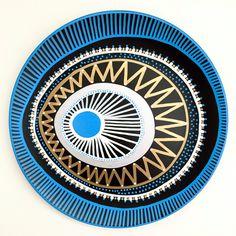 Decorative Plate - Tribal Dots Decor - Original hand-painted Artwork - Spiral Decor - Wall Art - Blue Evil Eye - Bohemian Wall Art - by biancafreitas on Etsy