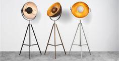 Chicago, lampadaire tripode, cuivre et doré | made.com