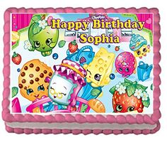 Shopkins Girls Birthday Party Premium Edible Cake Topper and/or Cupcake Toppers