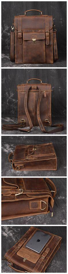 Large Leather Backpack Vintage Leather Backpack Travel