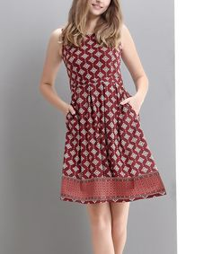 Look at this Red & White Diamond Sleeveless Fit & Flare Dress on #zulily today!