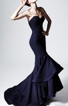 Stunning blue Zac Posen gown. bottom skirt treatment