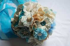 Bridal Bouquet (vintage blue and ecru) by Doris Teal, via Flickr