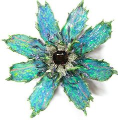 Opal Sapphire Garnet Gold Flower Brooch by Wallace Chan via jewelsdujour #opalsaustralia