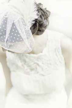 Polka-dotted blusher veil | Photo by Glass Jar Photography