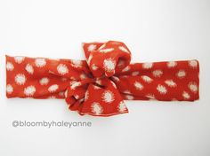 Polka dot head wrap - burnt orange and cream - wide tie on headband (non stretch)