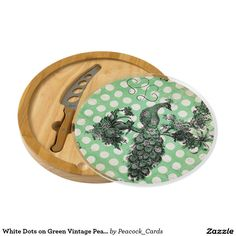White Dots on Green Vintage Peacock Cheese Board
