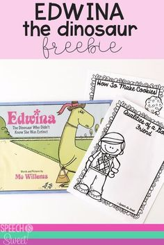 This is a fun freebie for Edwina, The Dinosaur! It addresses sequencing skills and qualities of a good friend. This book is great for working on social skills, comparing/contrasting, persuasion, and more! I love this book for back to school or year around! | Speech is Sweet