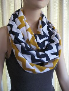 Rams Chargers Team Colors Dark Navy Blue and Gold Chevron Infinity Scarves by ChevronScarf on Etsy