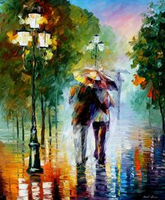 "GONE WITH THE RAIN -  PALETTE KNIFE Oil Painting On Canvas By Leonid Afremov -  Size 36"" x 30"""