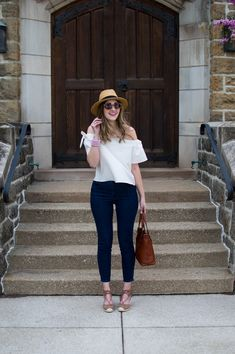 off the shoulder top + lace up wedges for spring