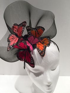 Butterfly headdress -Black Flower Fascinator- Butterfly headdress, Orange,red and fuscia butterflies- Derby- Sombreros Fascinator, Blue Fascinator, Fascinators, Headpieces, Wedding Hats, Headpiece Wedding, Wedding Parties, Ethno Style, Tribal Style
