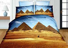 Niebieska modna pościel z egipskimi piramidami