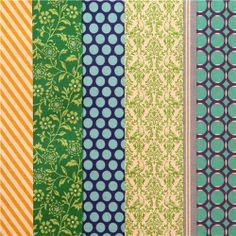 pipi echino Canvas fabric blue green flower dot