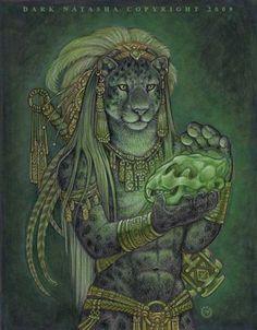 """Balalm Ku - """"Balam K'u (Meaning Jaguar Sacred in Mayan ) is a Mystic Black Panther Aztec with a jade jaguar skull."""""""