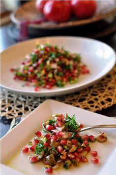Pomegranate, Walnut, Pistachio & Green Olive Salad