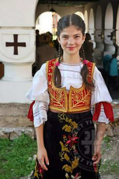 a beautiful serbian girl in traditional dressware. absolutely gorgeous!!!