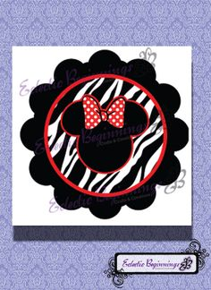 Disney Digital File, DIY Print Iron On-Minnie Mouse Zebra Red Bow INSTANT DOWNLOAD