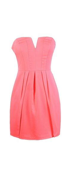 Party Time Strapless V Dip Dress in Neon Pink  www.lilyboutique.com