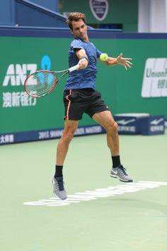 Roger Federer first practice in Shanghai 2015