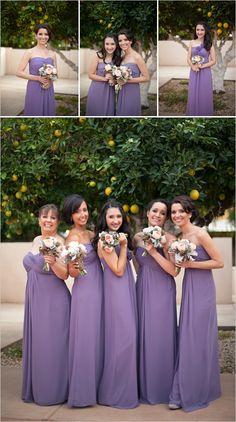 Purple bridesmaid dress. With white bouquets that have TIffany Blue ribbon wrapped around?