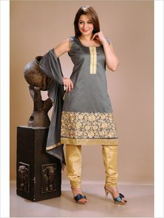 Grey Formal Art Silk Suit