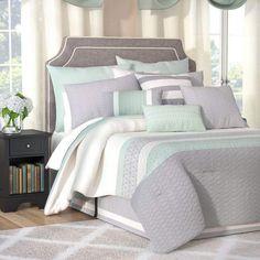 Astoria Grand Dina 24 Piece Reversible Comforter Set. Excellent value. #softbluebedding #beddingsets #bedding #affllnk #funkthishouse