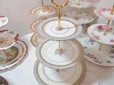 Aynsley 3-tier cake stand grey and cream by YorkshireTeaCupShop