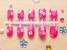 Japanese fake nails hot pink pop and cute nails by Aya1gou on Etsy, $13.00