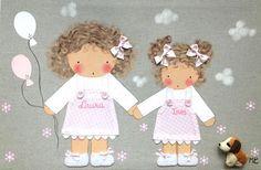 Cuadro artesanal BB www.bbthecountrybaby.com Sister Room, Applique, Teddy Bear, Clip Art, Cartoon, Dolls, Children, Crafts, Child Friendly