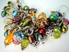 Cha cha bracelet, chunky charm bracelet, statement bracelet, fall fashion, pearl crystal bracelet,... Gypsy Soul